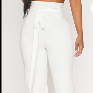 White slinky high-wasted trouser pants